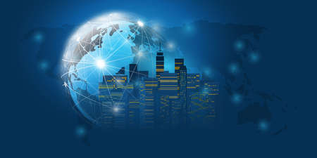 Smart City, Cloud Computing Design Concept with Wireframe and World Map - Digital Network Connections, Technology Background