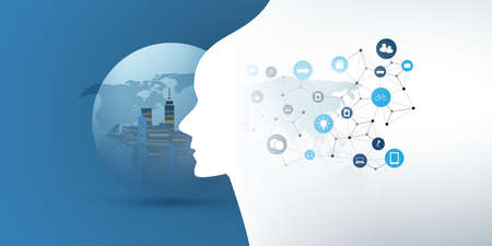 Smart City, Automated Digital Control, Deep Learning, Artificial Intelligence and Future Technology Concept Design with Cityscape in a Globe, and Human Head Silhouette - Vector Illustration Banque d'images - 150127002