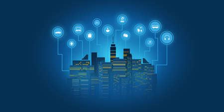 Futuristic Smart City, IoT and Cloud Computing Design Concept with Icons - Digital Network Connections, Technology Background Banque d'images - 149952857