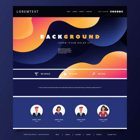 Website Design Template for Your Business with Orange and Blue Abstract Liquid Texture in the Header Banque d'images - 150192525