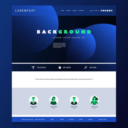Website Design Template for Your Business with Blue Abstract Circles Gradient Texture in the Header
