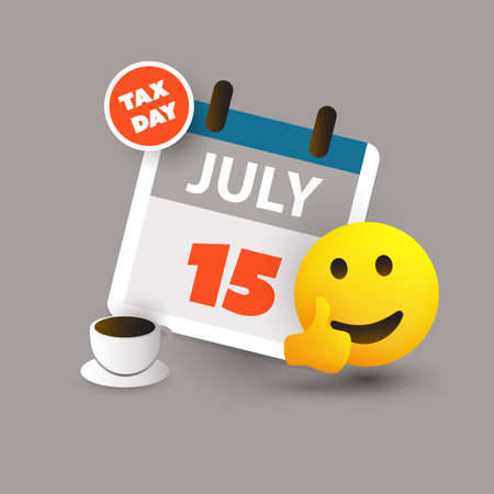 Tax Day Reminder Concept with Emoticon - Calendar Design Template - USA Tax Deadline, New Extended Date for IRS Federal Income Tax Returns: 15 July 2020 Banque d'images - 150541323