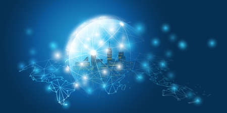 Futuristic Smart City, IoT and Cloud Computing Design Concept with Polygonal Mesh, Cluster and Nodes - Digital Network Connections, Technology Background Çizim