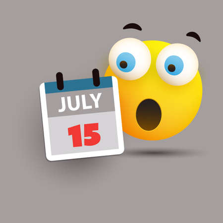 Tax Day Reminder Concept with Emoticon - Calendar Design Template - USA Tax Deadline, New Extended Date for IRS Federal Income Tax Returns: 15 July 2020 Banque d'images - 150500904