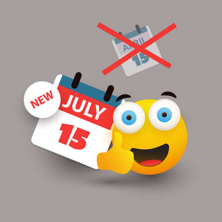 Tax Day Reminder Concept with Emoticon - Calendar Design Template - USA Tax Deadline, New Extended Date for IRS Federal Income Tax Returns: 15 July 2020 Banque d'images - 150500905