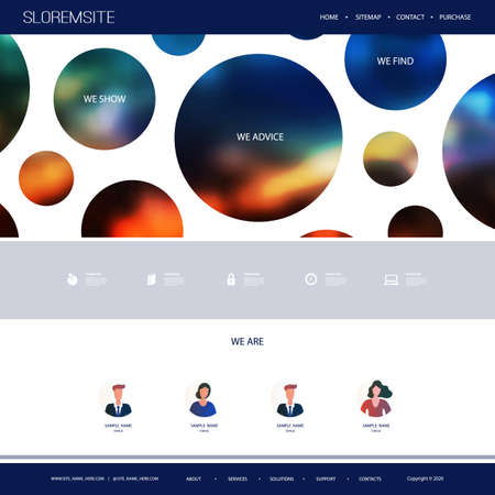 Website Design Template for Your Business with Orange and Blue Abstract Circles, Blurry Gradient Texture in the Header Banque d'images - 150376579
