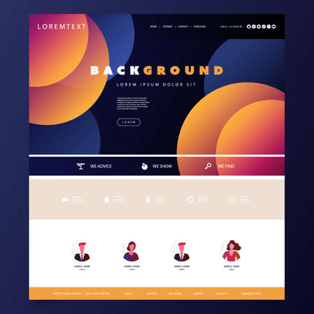 Website Design Template for Your Business with Orange and Blue Abstract Circles Gradient Texture in the Header