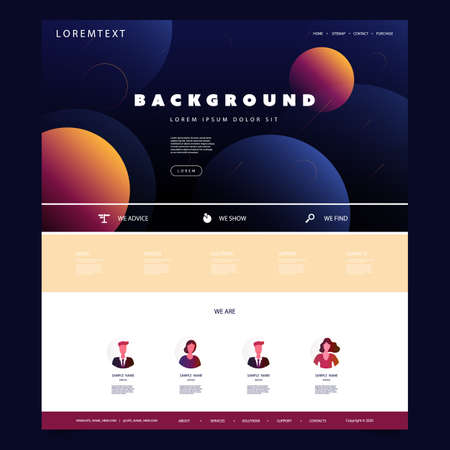 Website Design Template for Your Business with Orange and Blue Abstract Circles Gradient Texture in the Header Banque d'images - 150500906