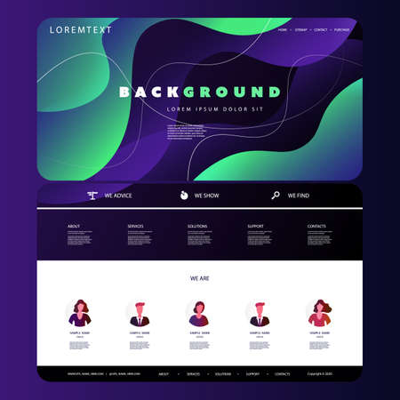 Website Design Template for Your Business with Green and Purple Abstract Liquid Shapes Texture in the Header Banque d'images - 150378491