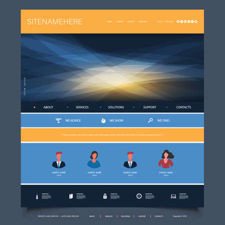 Website Design Template for Your Business with Orange and Blue Wavy Gradient Texture in the Header