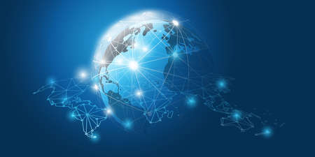 Abstract Blue Futuristic Modern Style Cloud Computing, Networks Structure, Telecommunications Concept Design, Network Connections with Earth Globe and Transparent World Map - Vector Illustration Banque d'images - 150472116