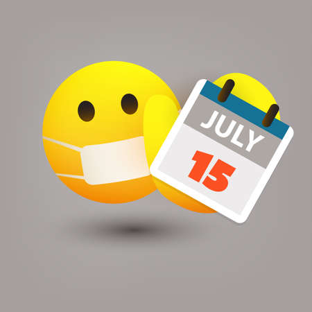 Tax Day Reminder Concept with Emoticon - Calendar Design Template - USA Tax Deadline, New Extended Date for IRS Federal Income Tax Returns: 15 July 2020
