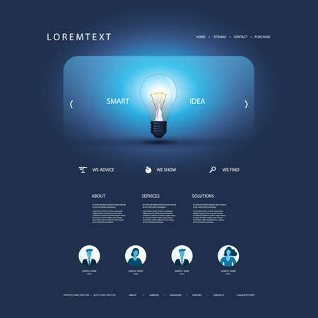 Website Template for Your Business with Smart Idea Concept - Design with Glowing Light Bulb in the Header Banque d'images - 150472421