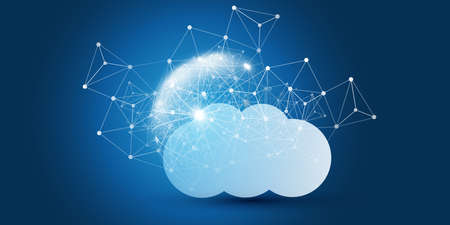 Cloud Computing Design Concept - Digital Connections, Technology Background with Wire Frame Sphere and Geometric Network Mesh Stockfoto - 151071102