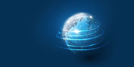 Abstract Blue Minimal Style Cloud Computing, Networks Structure, Telecommunications Concept Design, Network Connections, Transparent Wire Frame and Earth Globe - Vector Illustration