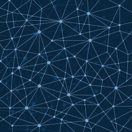 Abstract Dark Blue Multi Layered Networks Pattern Background, Polygonal Network Mesh Ilustración de vector