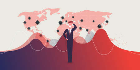 Global Economic Crisis, Downfall Because of the Corona Virus Pandemic - Waves of Infection, Danger, Financial Problems - Design Concept with World Map and Businessman Scratching His Head Çizim