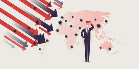 Global Economic Downfall Because of the Corona Virus Pandemic - Waves of Infection, Financial Problems - Design Concept with World Map and Businessman Scratching His Head Çizim