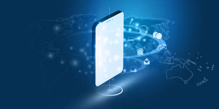 Abstract Blue Minimal Style Cloud Computing, Networks, Telecommunications Concept Design with Glowing Lines of Flowing Data and Mobile Phone - Vector Illustration