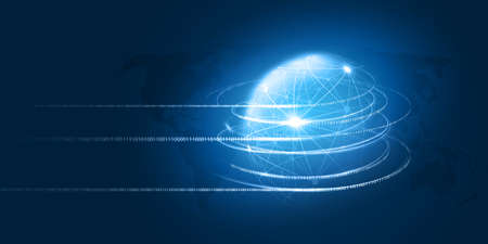 Abstract Blue Minimal Style Cloud Computing, Networks, Telecommunications Concept Design with Polygonal Mesh, Glowing Lines of Binary Code Around a Transparent Globe - Vector Illustration