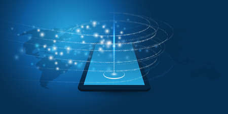 Abstract Blue Minimal Style Cloud Computing, Networks, Telecommunications Concept Design with Tablet PC, Mobile Device, Glowing Lines of Flowing Digital Data, Binary Code - Vector Illustration Vectores