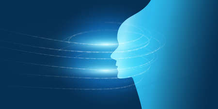 Futuristic Machine Learning, Artificial Intelligence, Cloud Computing, Automated Support Assistance and Networks Design Concept with Robot or Human Face Silhouette and Digital Binary Data Pattern