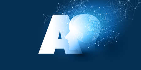 Futuristic Machine Learning, Artificial Intelligence, Cloud Computing, Automated Support Assistance and Networks Design Concept with AI Label and Wireframe Network Vectores