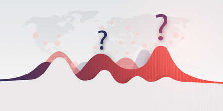 Waves of Corona Virus Infection Around the World - Will There Be a Second Wave? - Design Concept with Charts and World Map