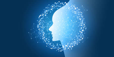 Futuristic Machine Learning, Artificial Intelligence, Cloud Computing, Automated Support Assistance and Networks Design Concept with Robot or Human Face Silhouette and Wireframe Pattern Vettoriali