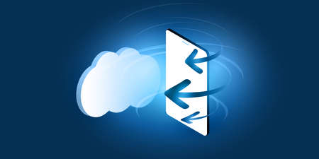 Futuristic Cloud Computing, Network Design Concept - Digital Connections, Technology Background with Mobile Phone, Arrow and Cloud
