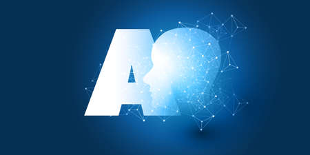Futuristic Machine Learning, Artificial Intelligence, Cloud Computing, Automated Support Assistance and Networks Design Concept with AI Label and Wireframe Network 일러스트