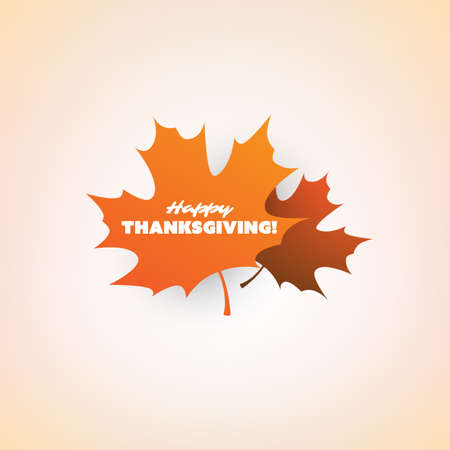 Happy Thanksgiving Card Layout,  Design Template with Scattered Fallen Autumn Leaves Иллюстрация