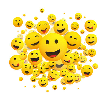 Various Faces, Emoticons - Lots of Laughing, Smiling, Winking Emoticons, 3D Vector Concept Illustration on White Background Illusztráció