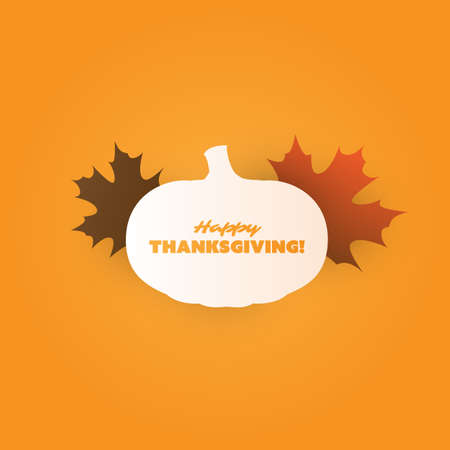 Happy Thanksgiving Card Design Template with Pumpkin and Fallen Autumn Leaves