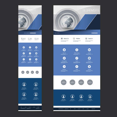 Responsive One Page Website Template - Header Design with Earth Globe - Desktop and Mobile