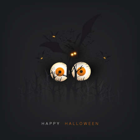 Happy Halloween Card Template - Creepy Face with Pop Out Eyes and Flying Bats in a Dark Forest - Vector Illustration