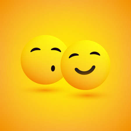 Cheek Kiss - Happy Emoticons on a Yellow Background - Vector Illustration