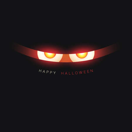 Happy Halloween Card Template - Creepy Face with Glowing Eyes in the Dark - Vector Illustration