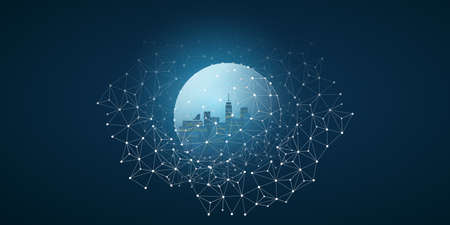 Futuristic Smart City, IoT and Cloud Computing Design Concept with Polygonal Mesh, Cluster and Nodes - Digital Network Connections, Technology Background 向量圖像