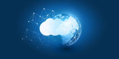 Cloud Computing Design Concept - Digital Connections, Technology Background with Earth Globe and Geometric Network Mesh 向量圖像