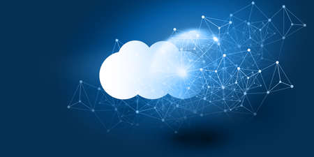 Cloud Computing Design Concept - Digital Connections, Technology Background with Globe and Geometric Network Mesh 向量圖像