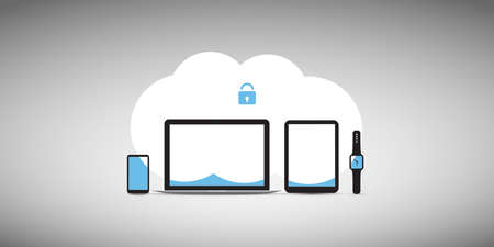 Cloud Computing, Internet Security, Information Safety, Data Protection Concept - Modern Style Vector Illustration for Web Design, Marketing and Print Materials