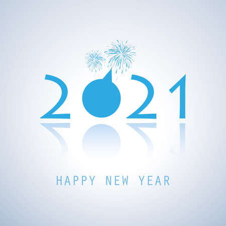 Blue New Year Card Template with Fireworks - 2021 Illustration