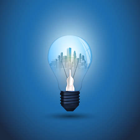 New Ideas, Smart City and Alternative Energy Concept Design - Cityscape Inside a Glowing Light Bulb - Illustration in Editable Vector Format