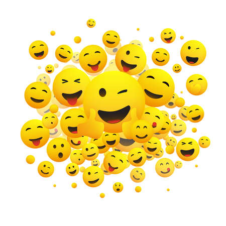 Various Faces, Emoticons - Lots of Laughing, Smiling, Winking Emoticons, 3D Vector Concept Illustration on White Background  イラスト・ベクター素材