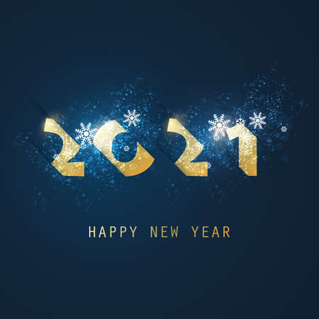 Best Wishes - Abstract White, Golden and Dark Blue Modern Style Happy New Year Greeting Card or Background, Creative Design Template - 2021