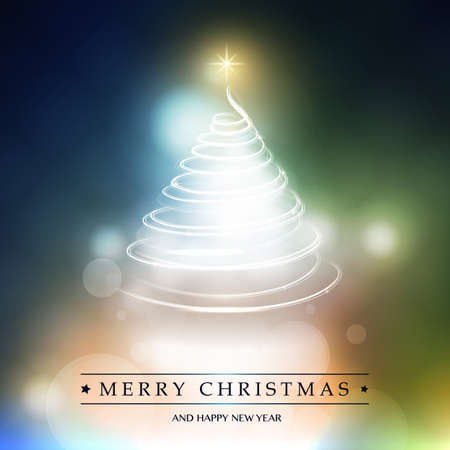 Merry Christmas, Happy Holidays Card - Christmas Tree Shape Made from Bright Spiralling Light on Colorful Blurry Background
