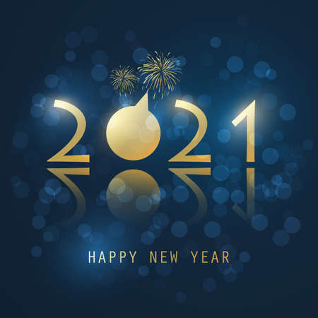 Dark Blue and Golden New Year Card with Fireworks - 2021