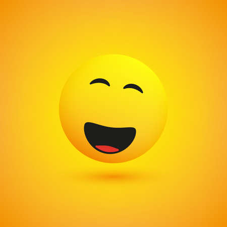 Simple Shiny Happy Smiling Emoticon on Yellow Background - Vector Design