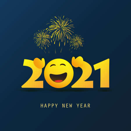 Abstract Dark Blue Happy New Year Greeting Card or Background, Creative Design Template with Open Arms Smiling Emoji - 2021 Ilustração